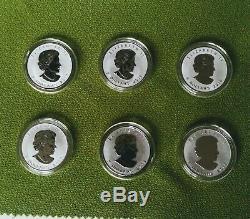1 oz 9999 Wild Canada Coins Set of 6 Canadian Maple Leaf Privy Rev Proof