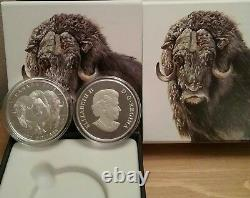 $100 2015 MUSKOX 1OZ Pure Silver Proof Coin Canada