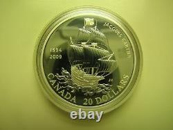 1534-2009 Proof $20 475th Ann Jacques Cartier Arrival Gaspe Canada. 9999 silver