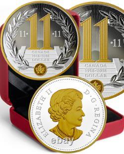 1918-2018 Proof Silver Dollar $1CoinCanada 100th Anniv. Armistice WWI 11th Hr Day