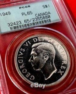 1949 Canada 1 Dollar Silver Coin One Dollar PCGS Proof-Like PL-65 OGH