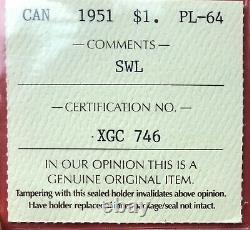 1951 SWL Canada Silver 1 Dollar Coin ICCS Proof Like PL-64 Original