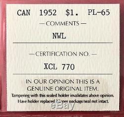 1952 NWL Canada 1 Dollar Silver Coin One Dollar ICCS Proof Like PL-65