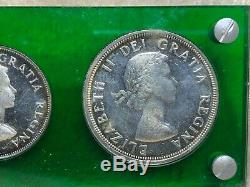 1953 Canada Proof Like Set Silver $1, 50C. 25C, 10C, 5C, 1C in Green Display