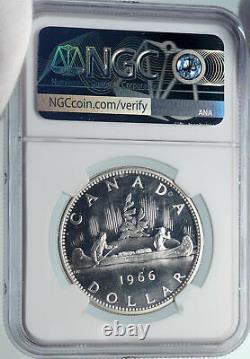 1966 CANADA UK Queen Elizabeth II Canoe Proof-Like Silver Dollar Coin NGC i85384