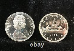 1966 Uncirculated Canada Dollar Roll WithSome Proof-Like 80% Silver (20 Coins)