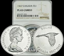 1967 Canada Goose Silver $1 Dollar Ngc Pl65 Cameo Proof Like High Grade Coin