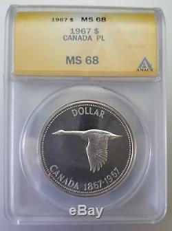 1967 Canada Silver One Dollar Proof Like Ms68 Cameo Goose