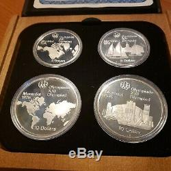 1976 CANADA XXII Olympic 28 Sterling Silver PROOF Coins & 7 Wooden Cases & COA's