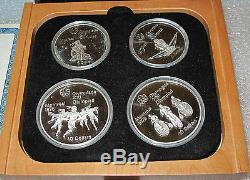 1976 Canada 4 Silver Coin Set Montreal Olympics Box Coa 4.34 Troy Oz. Proof