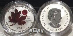 1980-2020 O-Canada Maple Leaf $5 1OZ Pure Silver Proof Coin National Anthem Act