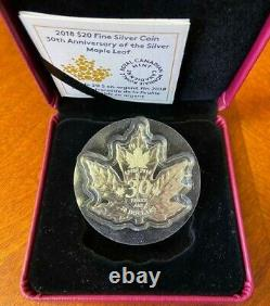 1988-2018 Canada Silver Maple Leaf Shaped 30th Anniversary $20.00 1 Ounce Proof