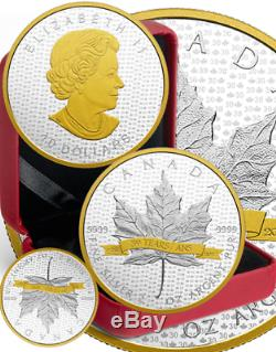1988-2018 Iconic SML 2OZ Pure Silver Maple Leaf Gold-Plated Proof $10Coin Canada