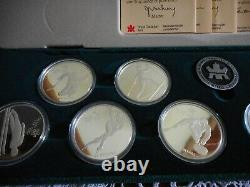 1988 Calgary Winter Olympics Canadian Proof Silver Coin Set 10 Coins withBox & COA