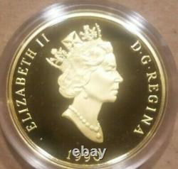 1990 $200 Canadian Gold Coin Proof CANADA'S FLAG SILVER JUBILEE 0.505 AGW 1/2 oz