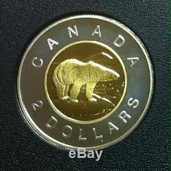 1997 to 2017 CANADA PROOF $2 TOONIE COINS, SILVER WITH 24K GOLD PLATED CORE
