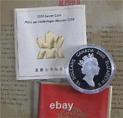 2000 Canada silver $15 dollars coin Lunar Year Of Dragon gilding proof stamps