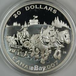 2007 Canada $20 Holiday Sleigh Ride Proof 1oz. 9999 Silver Coin- with Box & COA
