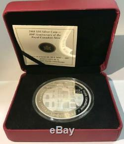 2008 Canada $50 Silver 5 Oz. Proof 100th Anniv. Of Royal Canadian Mint