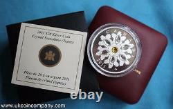2011 Canada Swarovski Crystal Snowflakes 1oz Silver Proof $20 Coin Topaz