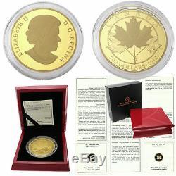 2012 Canada 5 oz Proof Pure Gold Coin $500 Maple Leaf Queen Elizabeth II COA Box