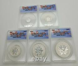 2013 Canada 5 Coin Silver Maple Reverse Proof Set ANACS-RP70 25th AnnIversary $5