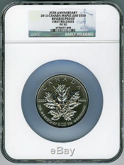 2013 Canada 5 Ounce Silver Maple Leaf Ngc Pf70 Reverse Proof 25th Anniversary Fr
