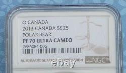2013 NGC PF 70 U-Cam Polar Bear Canada $25 Coin, 1 oz. 9999 Fine Silver, Pop 16