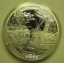 2013 Proof $50 5 oz. 9999 silver Shannon Chesapeake War 1812 Canada cracked caps