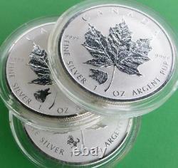 2014 & 2 2016 Rev PF Canada $5 Maple Leaf, Horse, Bear & Wolf Privy, 3 oz Silver
