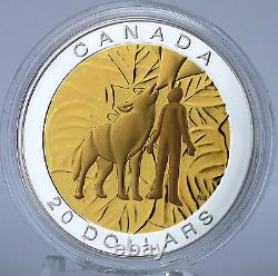 2014 $20 Seven Sacred Teachings Humility Wolf 1 oz Pure Silver Proof Coin + Gold