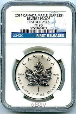 2014 $5 Canada 1oz Silver Ngc Pf70 Reverse Proof Maple Leaf First Releases