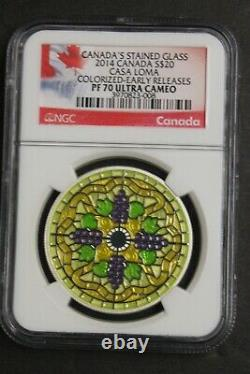 2014 Canada $20 Stained Glass Casa Loma Colored Silver Ngc Pf 70 Ultra Cameo Er