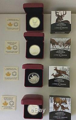2014 Canada $20 White Tailed Deer Complete 4 Coin Silver Proof Set Free ship