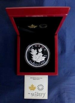 2014 Canada 5oz Silver Proof $50 coin Maple Leaves in Case / COA (G4/4)