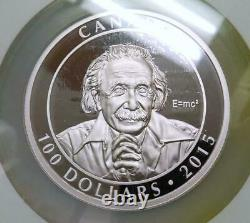 2015 10oz CANADA S$100 ALBERT EINSTEIN EARLY RELEASE PF70 ULTRA CAMEO #017