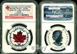 2015 $5 Canada Silver Maple Leaf Ngc Pf70 Er Reverse Proof Incuse Enameled 1 Oz