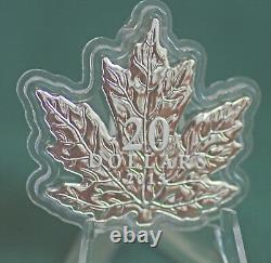 2015 Canada $20 Unique shaped maple leaf coin 99.99% silver proof finish in box