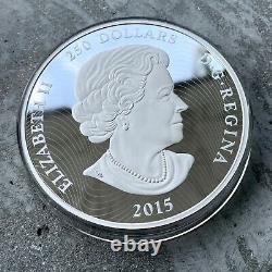 2015 Canada Kilo. 9999 Fine Silver Coin $250 Eyes of Cougar Stunning Enamel