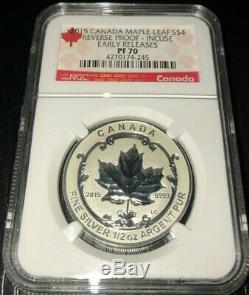 2015 Canada Silver Maple Leaf Reverse Proof Enameled Set NGC PF70 ER