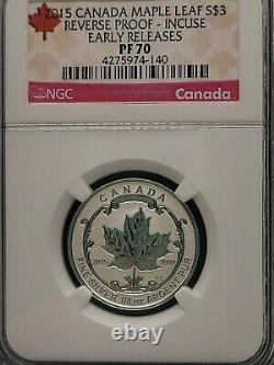2015 NGC PF 70 Incuse Reverse Proof CANADA (5 Coin Set) Silver MAPLE LEAF $5