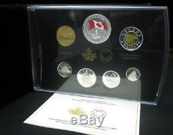 2015 Premium Proof Set 50th Canada Flag. 9999 Silver Canada with Coloured Dollar
