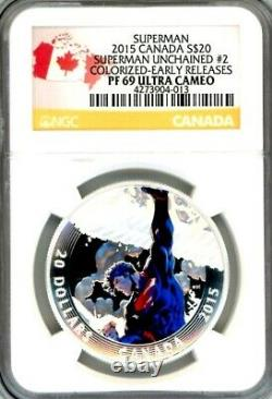 2015 Superman Iconic Comic Book Cover Art 3 Coin Proof Set $20 Silver NGC PF69
