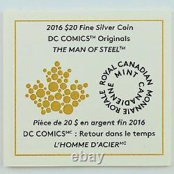 2016 $20 DC Comics Originals Man of Steel Superman 1 oz Pure Silver Color Proof