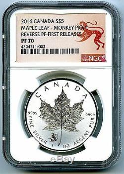 2016 $5 Canada 1 Oz Silver Maple Leaf Monkey Privy Ngc Pf70 Fr Reverse Proof