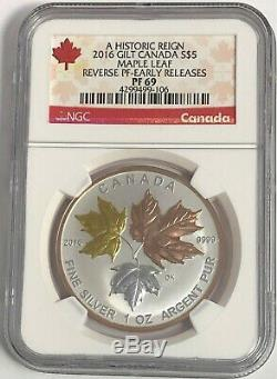 2016 $5 Canada Silver Maple Leaf Gilt Ngc Pf69 Reverse Proof Er Pink Gold 1 Oz