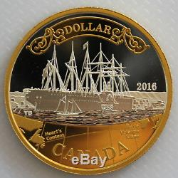 2016 CANADA 150th ANN OF TRANSATLANTIC CABLE PROOF SILVER DOLLAR GOLD PLATED