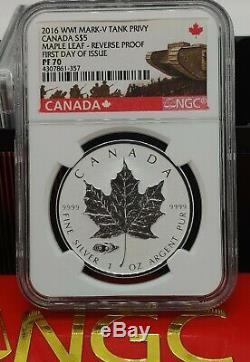 2016 CANADA $5 1oz Silver Maple Leaf Mark V Tank NGC PF70 Reverse Proof FDOI