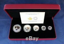 2016 Canada Silver Proof 5 coin set The Maple Leaf in Case with COA (R10/14)
