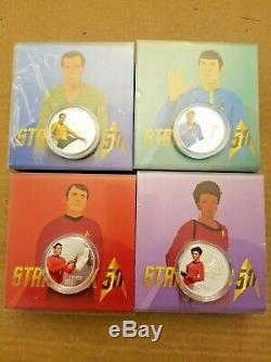 2016 Canada Star Trek Crew Proof $10 Silver 4 Coin Set Kirk Spock Scotty Uhura